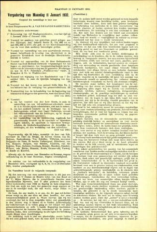 Handelingen van de Raad 1932-01-11