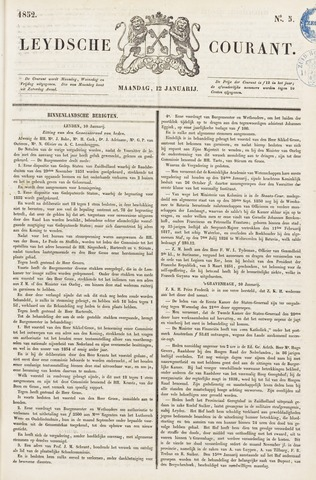 Leydse Courant 1852-01-12