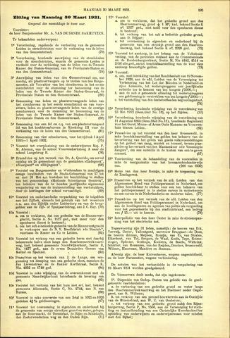 Handelingen van de Raad 1931-03-30