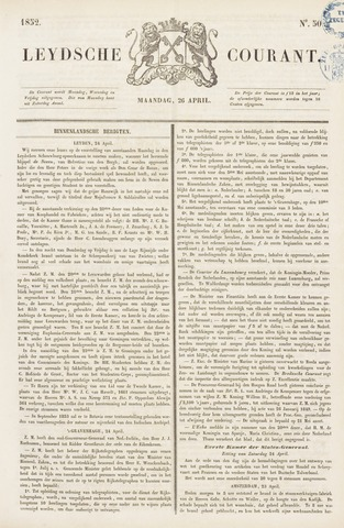 Leydse Courant 1852-04-26