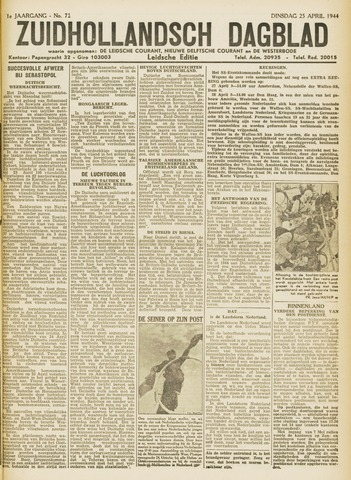 Zuidhollandsch Dagblad 1944-04-25