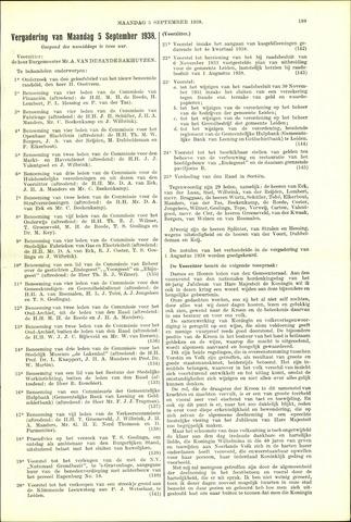 Handelingen van de Raad 1938-09-05