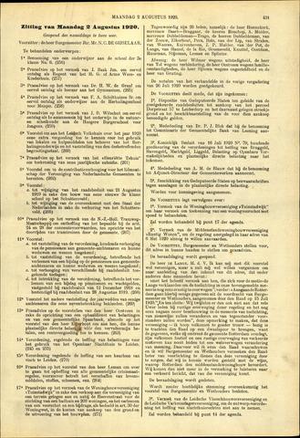Handelingen van de Raad 1920-08-02