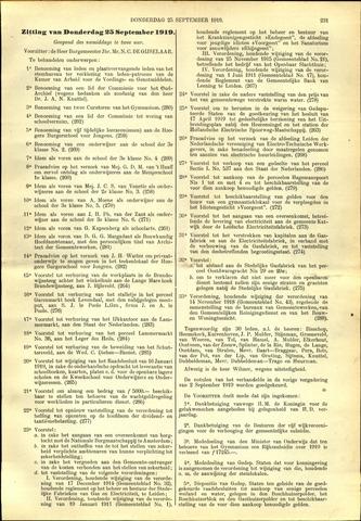 Handelingen van de Raad 1919-09-25