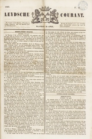 Leydse Courant 1862-04-28