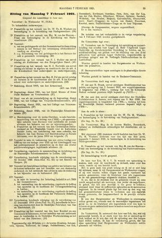 Handelingen van de Raad 1921-02-07