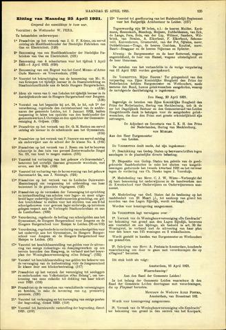 Handelingen van de Raad 1921-04-25