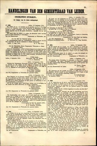 Handelingen van de Raad 1874-09-26