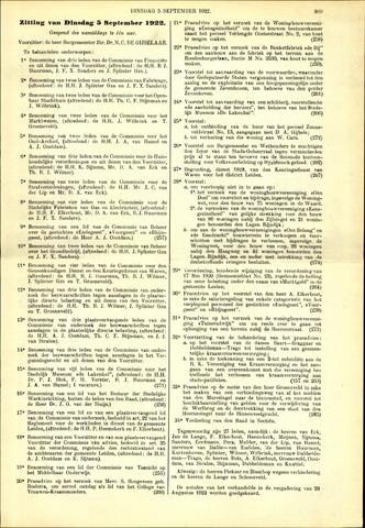 Handelingen van de Raad 1922-09-05