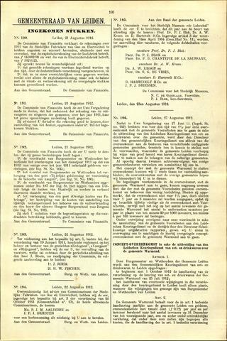 Handelingen van de Raad 1912-08-21