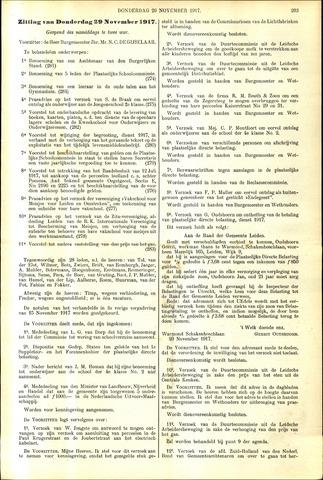 Handelingen van de Raad 1917-11-29