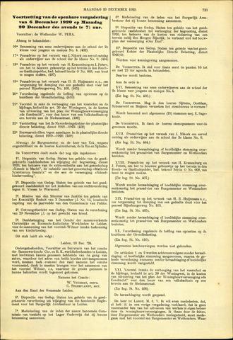 Handelingen van de Raad 1920-12-20