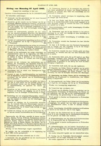 Handelingen van de Raad 1925-04-27