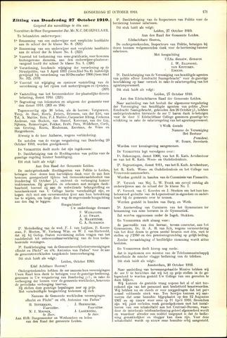 Handelingen van de Raad 1910-10-27