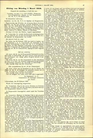 Handelingen van de Raad 1910-03-01
