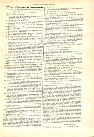 Handelingen van de Raad 1909-02-25