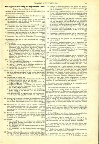 Handelingen van de Raad 1922-09-25
