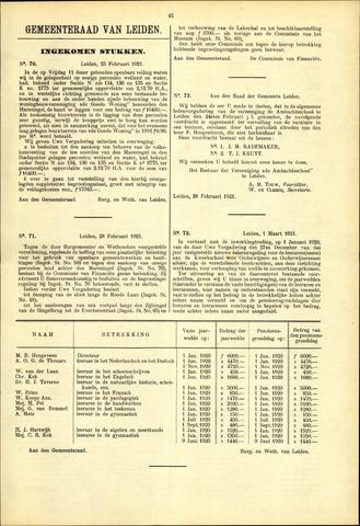 Handelingen van de Raad 1921-02-25