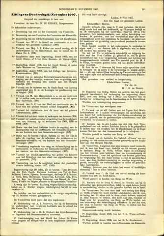 Handelingen van de Raad 1907-11-21