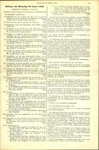 Handelingen van de Raad 1923-04-30