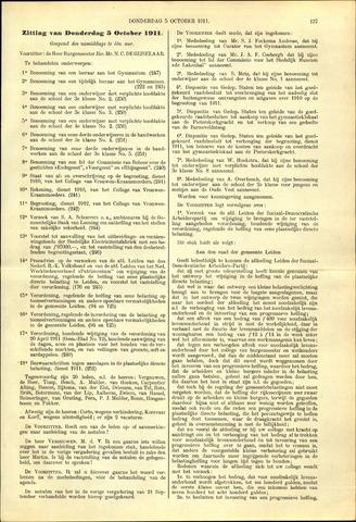 Handelingen van de Raad 1911-10-05