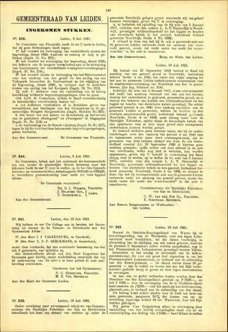 Handelingen van de Raad 1921-07-09