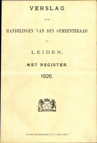 Handelingen van de Raad 1926-01-01