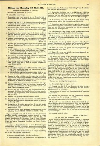 Handelingen van de Raad 1921-05-30