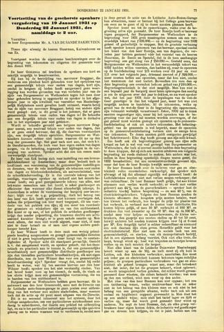 Handelingen van de Raad 1931-01-22
