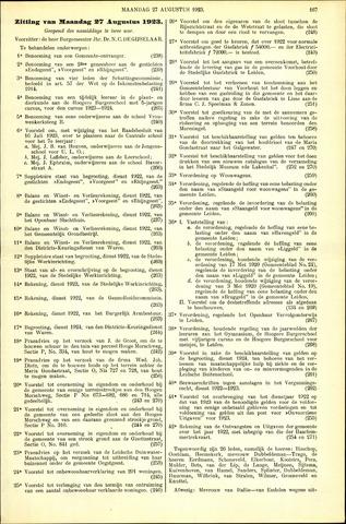 Handelingen van de Raad 1923-08-27
