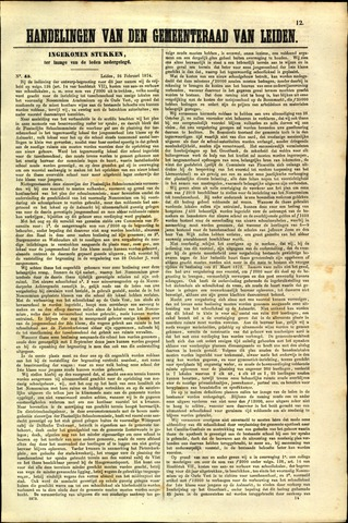 Handelingen van de Raad 1874-02-26