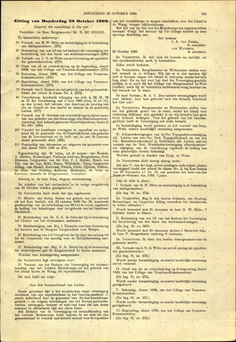 Handelingen van de Raad 1909-10-28