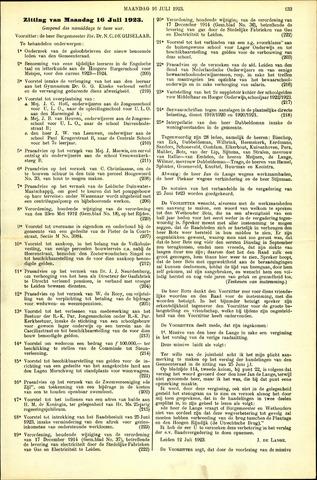 Handelingen van de Raad 1923-07-16
