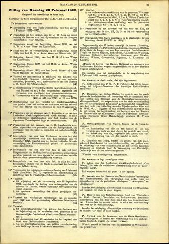 Handelingen van de Raad 1922-02-20