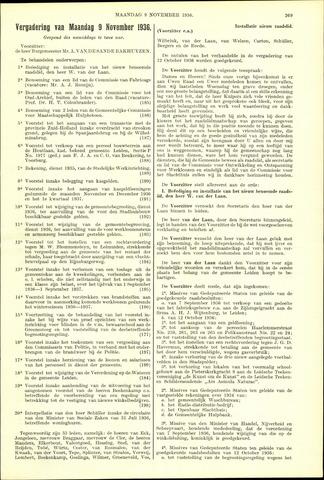Handelingen van de Raad 1936-11-09