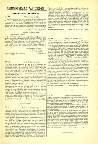 Handelingen van de Raad 1926-01-16