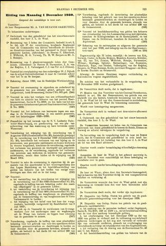 Handelingen van de Raad 1930-12-01
