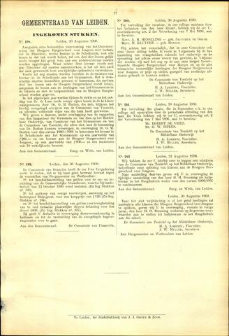 Handelingen van de Raad 1900-08-30