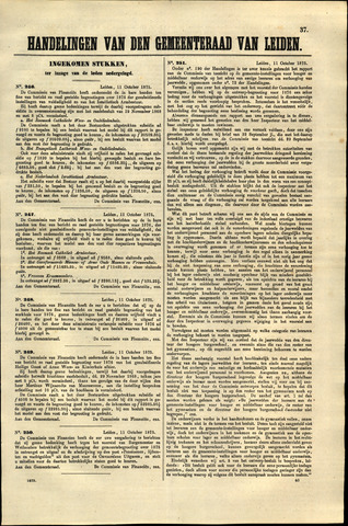 Handelingen van de Raad 1875-10-11