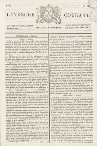 Leydse Courant 1852-11-29