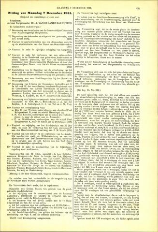 Handelingen van de Raad 1931-12-07