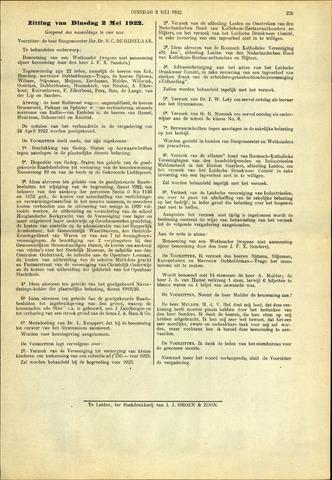 Handelingen van de Raad 1922-05-02