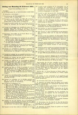 Handelingen van de Raad 1931-02-16