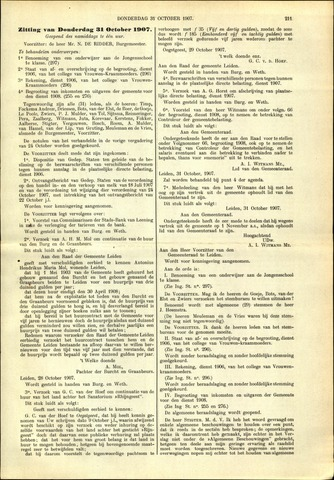 Handelingen van de Raad 1907-10-31