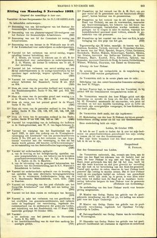 Handelingen van de Raad 1923-11-05