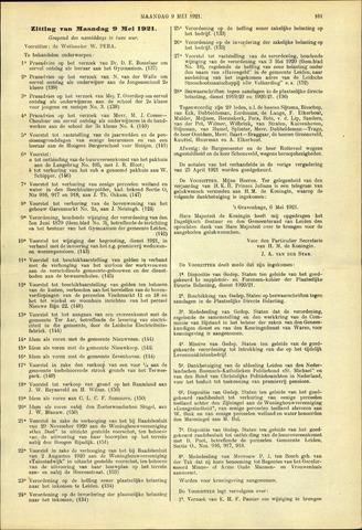 Handelingen van de Raad 1921-05-09