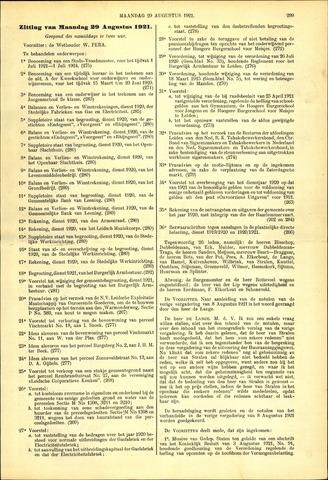 Handelingen van de Raad 1921-08-29