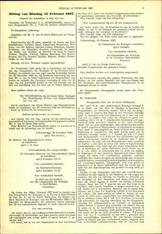 Handelingen van de Raad 1927-02-15