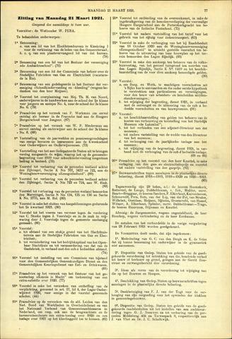 Handelingen van de Raad 1921-03-21