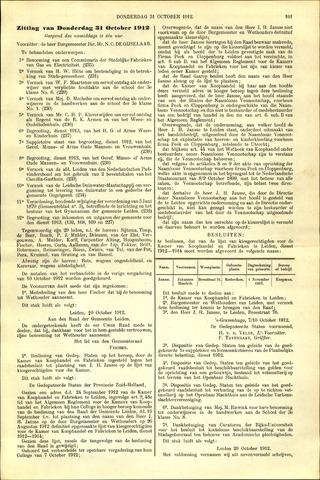 Handelingen van de Raad 1912-10-31